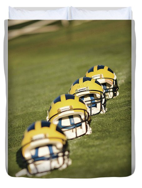 Helmets On Yard Line Duvet Cover