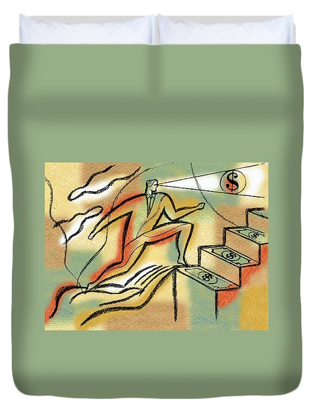Duvet Cover featuring the painting Helping Hand And Money by Leon Zernitsky