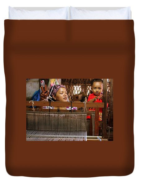 Duvet Cover featuring the photograph Helping Mom With The Weaving by Laurel Talabere