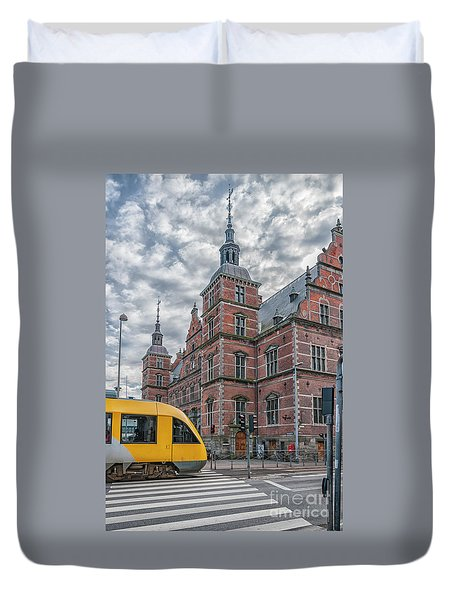 Duvet Cover featuring the photograph Helsingor Train Station by Antony McAulay