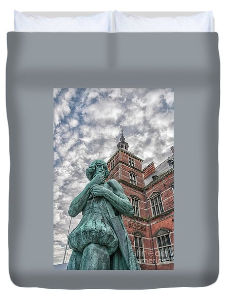 Duvet Cover featuring the photograph Helsingor Train Station Statue by Antony McAulay