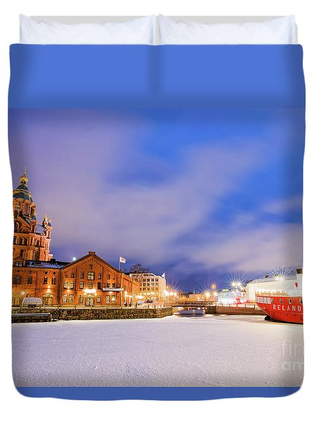 Helsinki By Night Duvet Cover by Delphimages Photo Creations
