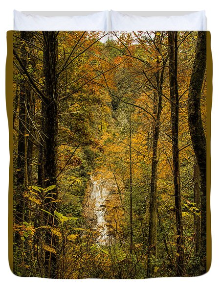 Duvet Cover featuring the photograph Helton Falls Through The Leaves by Barbara Bowen