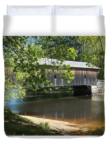 Hemlock Bridge Over The Saco River Duvet Cover