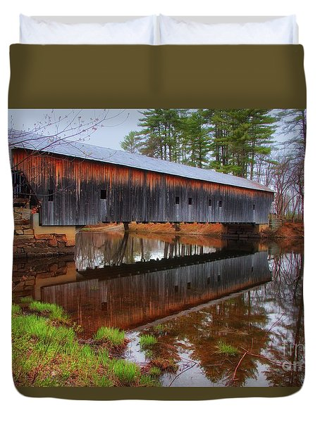 Hemlock Covered Bridge Fryeburg Maine Duvet Cover