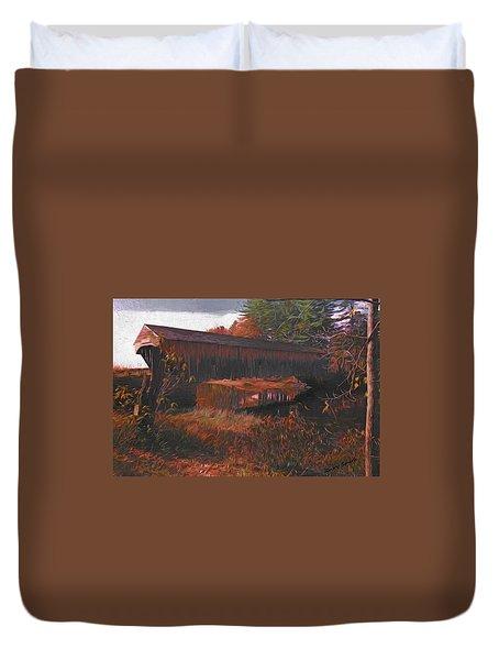 Hemlock Covered Bridge Duvet Cover