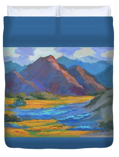Duvet Cover featuring the painting Henderson Canyon Borrego Springs by Diane McClary