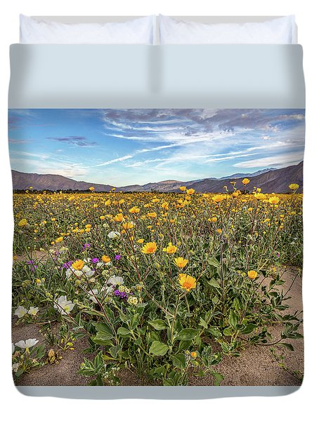 Henderson Canyon Super Bloom Duvet Cover by Peter Tellone