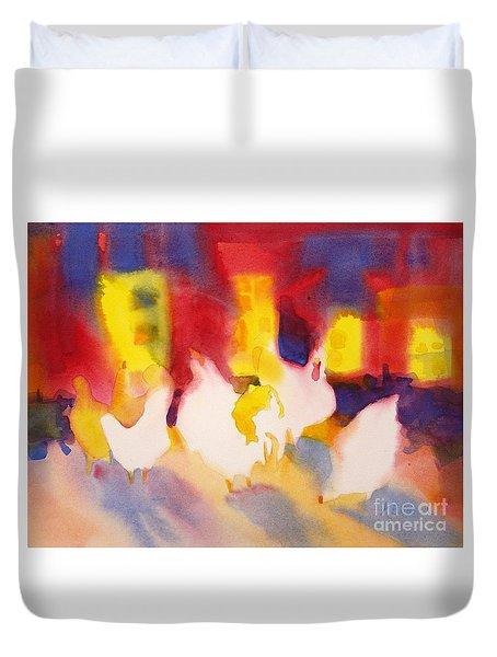 Henhouse Serenade Duvet Cover by Kathy Braud