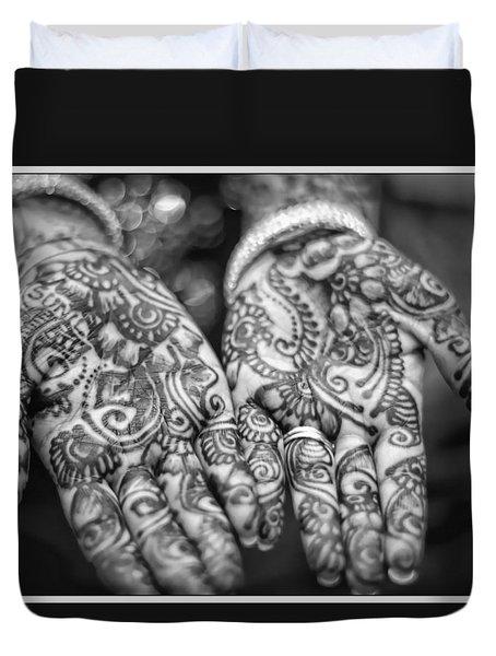 Henna Hands Black And White Duvet Cover