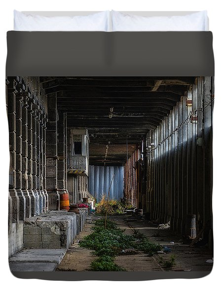 Duvet Cover featuring the photograph Hennebique Silos 3 Industrial Archeology Abandoned Places by Enrico Pelos