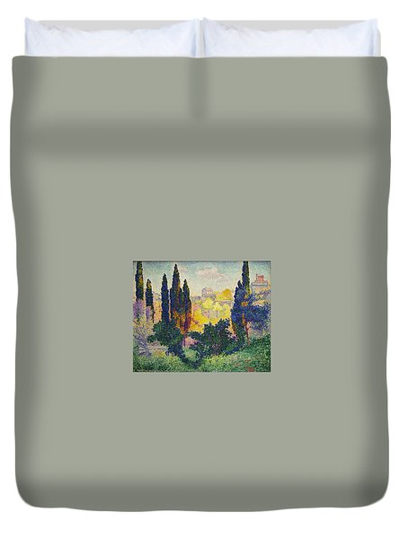 Henri Edmond Cross French Les Cypres A Cagnes Duvet Cover
