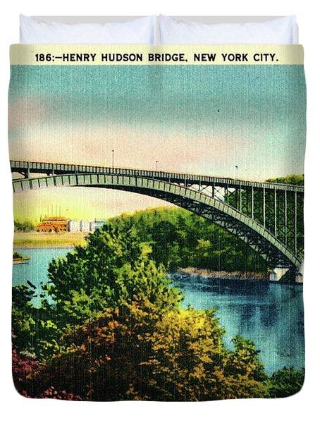 Henry Hudson Bridge Postcard Duvet Cover