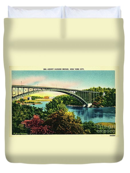 Henry Hudson Bridge Postcard Duvet Cover