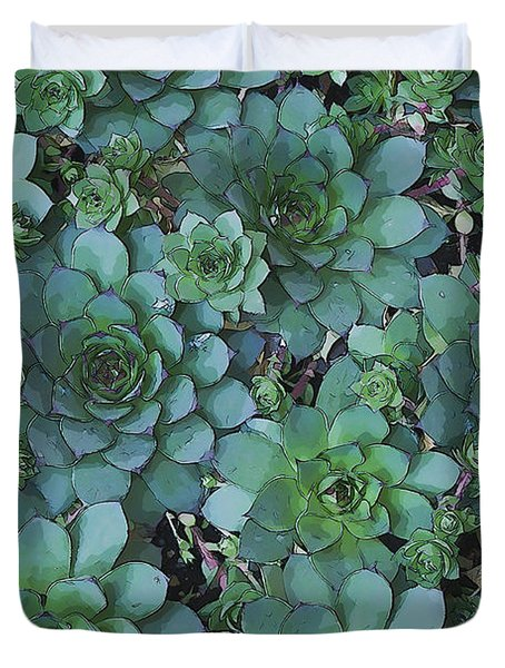 Hens And Chicks - Digital Art  Duvet Cover by Sandra Foster