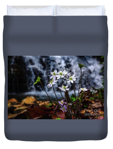 Duvet Cover featuring the photograph Hepatica And Waterfall by Thomas R Fletcher