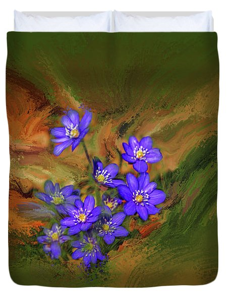 Duvet Cover featuring the digital art Hepatica Nobilis Painterly #h4 by Leif Sohlman