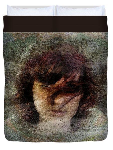 Duvet Cover featuring the digital art Her Dark Story by Gun Legler