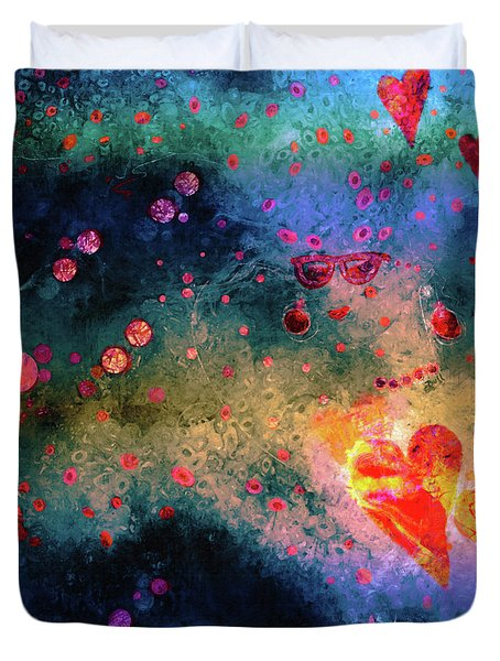 Duvet Cover featuring the painting Her Heart Shines Through by Claire Bull