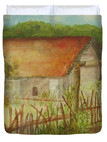 Duvet Cover featuring the painting Herb Garden by Vicki  Housel