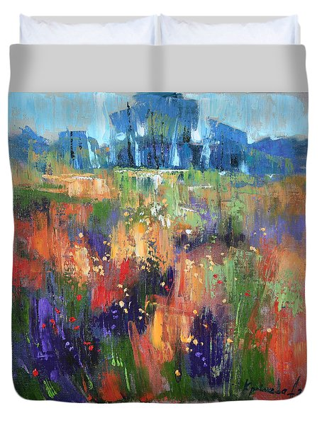 Duvet Cover featuring the painting Herbs by Anastasija Kraineva