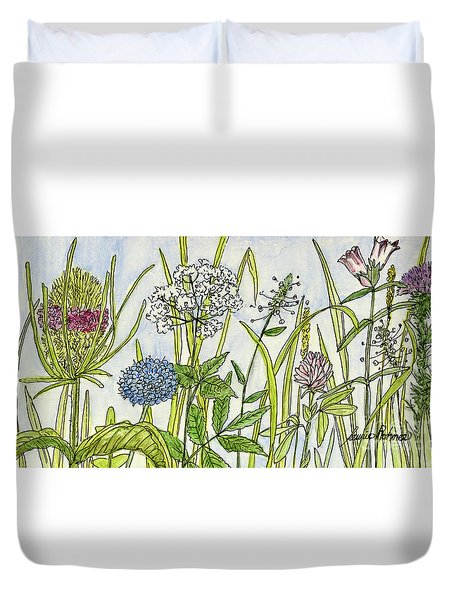 Herbs And Flowers Duvet Cover