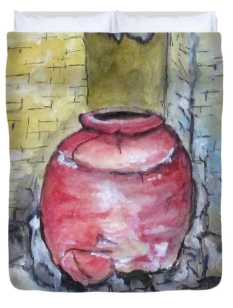 Herculaneum Amphora Pot Duvet Cover by Clyde J Kell