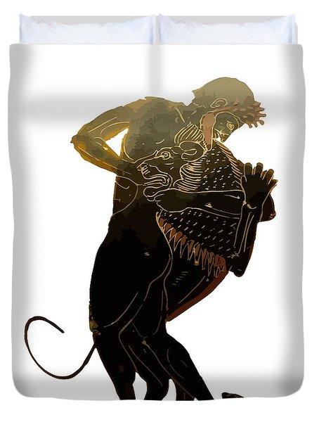 Hercules And The Nemean Lion Duvet Cover by Tracey Harrington-Simpson