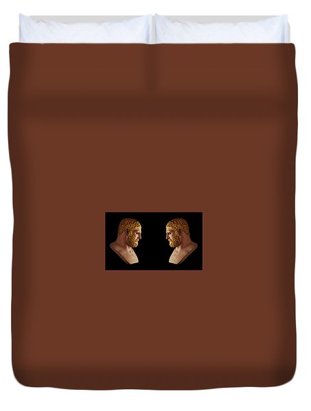 Duvet Cover featuring the mixed media Hercules - Blondes by Shawn Dall