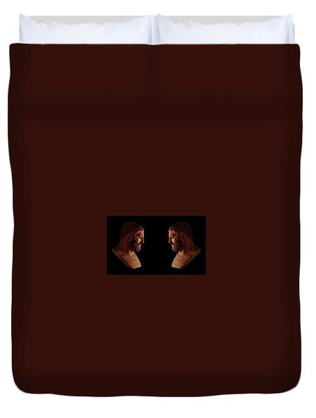 Duvet Cover featuring the mixed media Hercules - Brunettes by Shawn Dall