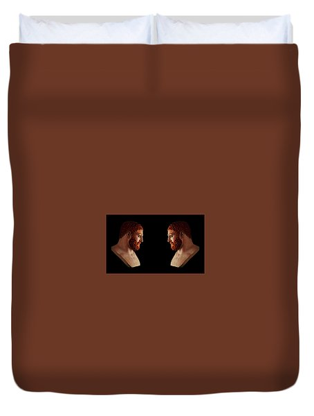 Duvet Cover featuring the mixed media Hercules - Gingers by Shawn Dall