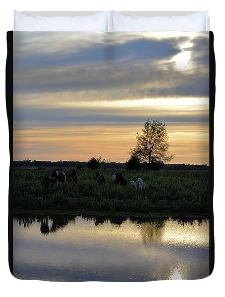 Duvet Cover featuring the photograph Herd By The Pond At Sunset by Mark McReynolds