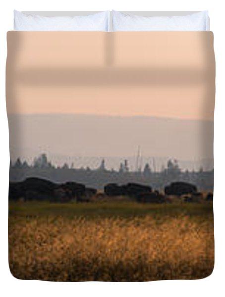 Herd Of Bison Grazing Panorama Duvet Cover