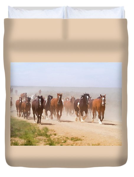 Duvet Cover featuring the digital art Herd Of Horses During The Great American Horse Drive On A Dusty Road by Nadja Rider