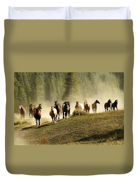 Herd Of Wild Horses Duvet Cover