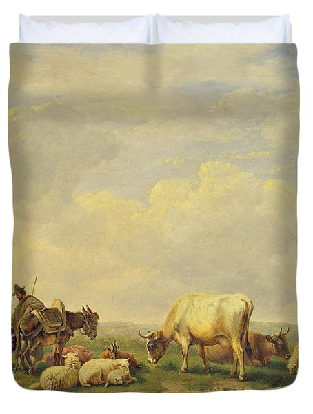 Herdsman And Herd Duvet Cover
