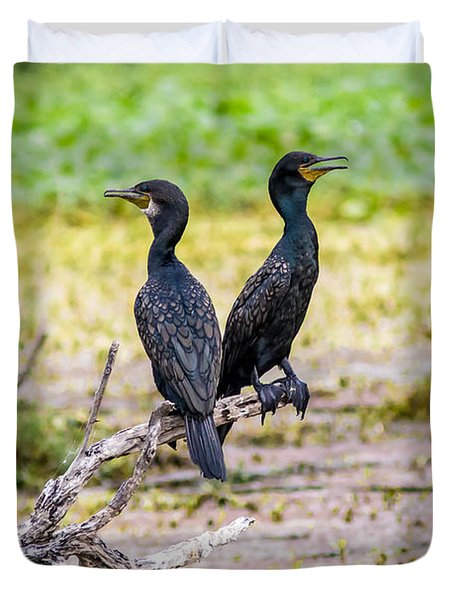 Here And There  - Cormorant Pair  Duvet Cover