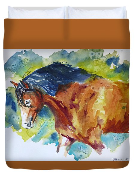 Duvet Cover featuring the painting Here Comes Beauty by P Maure Bausch