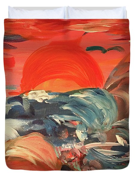 Here Comes The Weekend Aka Indian Rocks Beach Sunset Duvet Cover