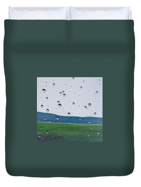 Here I Stand And Face The Rain Duvet Cover