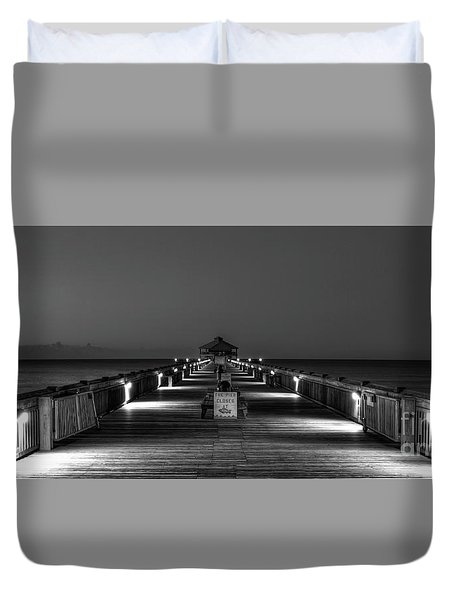 Duvet Cover featuring the photograph Here It Comes Folly Beach Pier Sunrise Art by Reid Callaway
