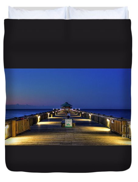Duvet Cover featuring the photograph Here It Comes Now Folly Beach Pier Sunrise Art by Reid Callaway