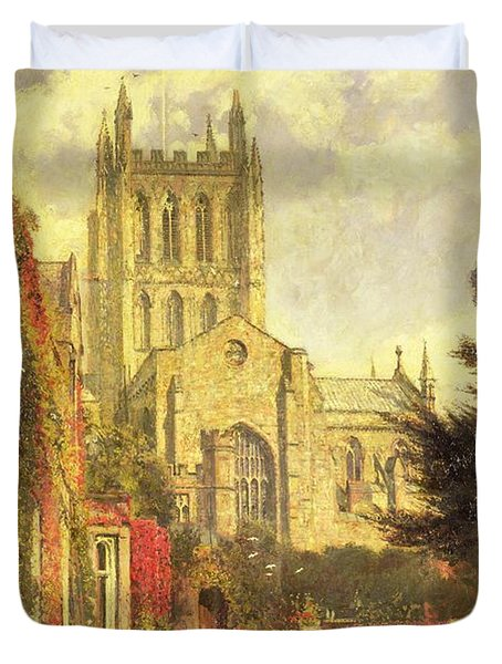 Hereford Cathedral Duvet Cover by John William Buxton Knight