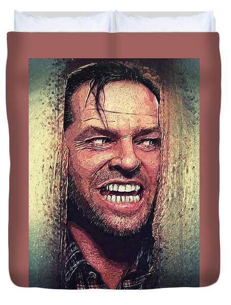 Here's Johnny - The Shining  Duvet Cover by Taylan Apukovska