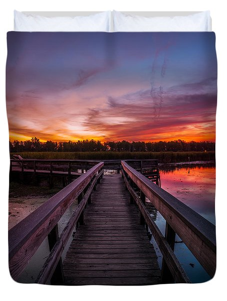Heritage Boardwalk Twilight - Square Duvet Cover