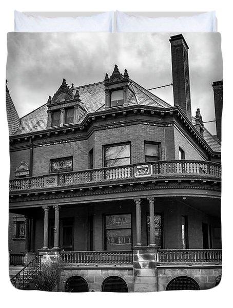 Heritage Hill Mansion In Black And White Duvet Cover
