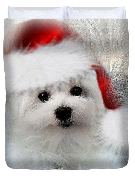 Hermes The Maltese At Christmas Duvet Cover