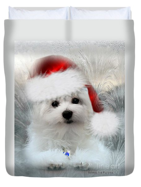 Hermes The Maltese At Christmas Duvet Cover