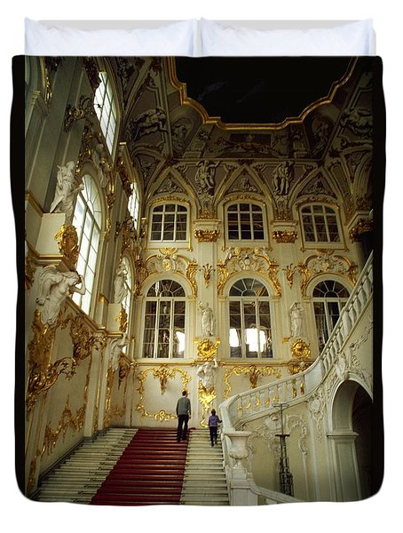 Duvet Cover featuring the photograph Hermitage Staircase by Travel Pics