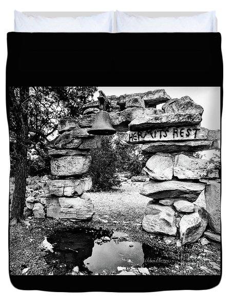 Hermit's Rest, Black And White Duvet Cover